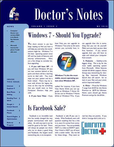 Click Here to open Computer Doctors Newsletter